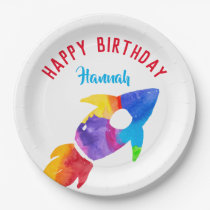Rainbow Rocket Ship Outer Space Birthday Party Paper Plate