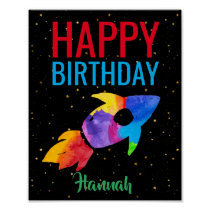 Rainbow Rocket Ship Outer Space Birthday Party Poster