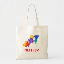 Rainbow Rocket Ship Outer Space Personalized Kids Tote Bag