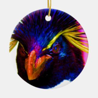 Rainbow Rockhopper Penguin Ceramic Ornament