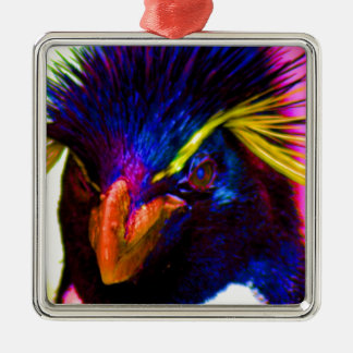 Rainbow Rockhopper Penguin Metal Ornament