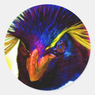 Rainbow Rockhopper Penguin Classic Round Sticker