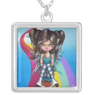 Rainbow Roller Rink Silver Plated Necklace