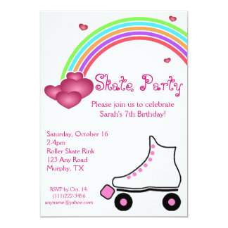 Rainbow Roller Skate Birthday Invitation
