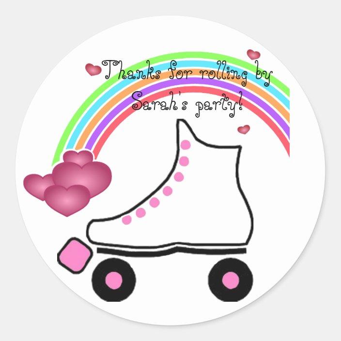Rollerskating Birthday Stickers Set of 12