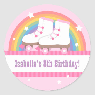 Rainbow Roller Skating Birthday Party Decor Classic Round Sticker