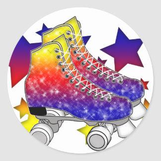 Rainbow Rollerskates Classic Round Sticker