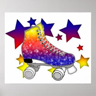 Rainbow Rollerskates Poster