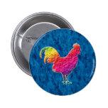 Rainbow rooster 2 inch round button