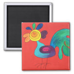 Rainbow Rooster 2 Inch Square Magnet
