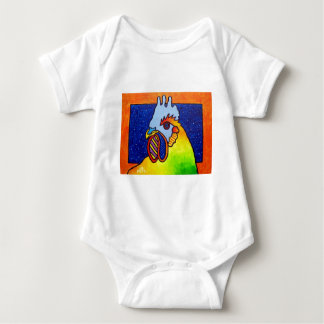 Rainbow Rooster 4 by Piliero Baby Bodysuit
