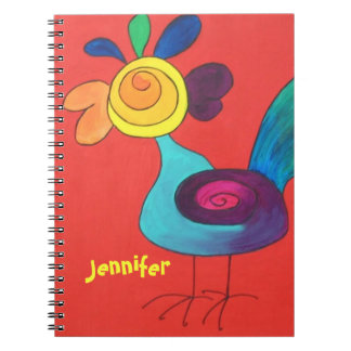 Rainbow Rooster Add A Name Notebook