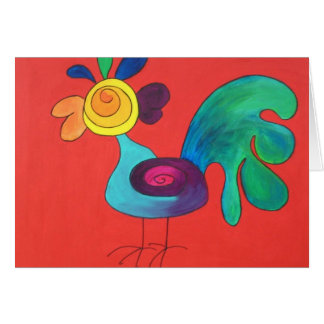 Rainbow Rooster Card
