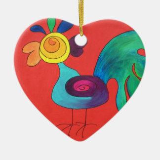 Rainbow Rooster Ceramic Ornament