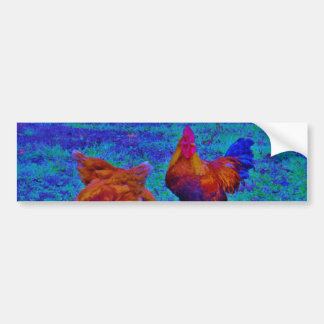 Rainbow Rooster & Hens, Electric Blue Car Bumper Sticker