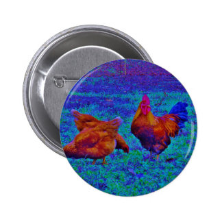 Rainbow Rooster & Hens, Electric Blue Buttons