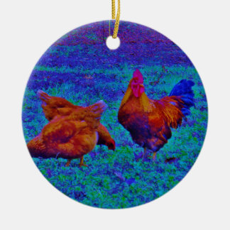 Rainbow Rooster & Hens, Electric Blue Ceramic Ornament