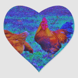 Rainbow Rooster & Hens, Electric Blue Heart Sticker