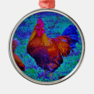Rainbow Rooster & Hens, Electric Blue Metal Ornament