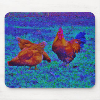 Rainbow Rooster & Hens, Electric Blue Mouse Pad