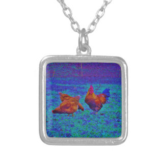 Rainbow Rooster & Hens, Electric Blue Personalized Necklace