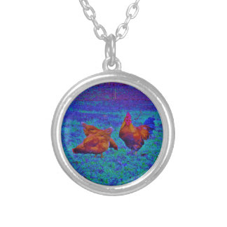 Rainbow Rooster & Hens, Electric Blue Pendant