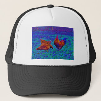 Rainbow Rooster & Hens, Electric Blue Trucker Hat