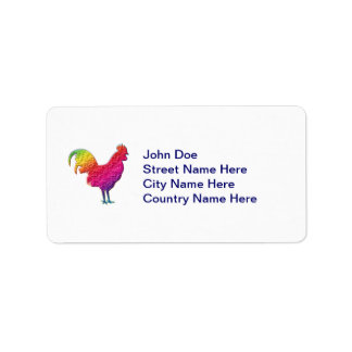 Rainbow rooster label