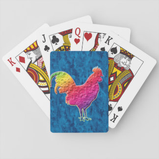 Rainbow rooster playing cards