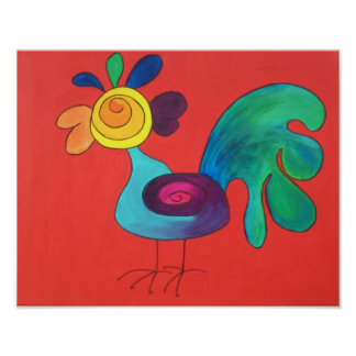 Rainbow Rooster Posters