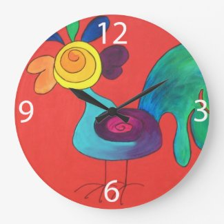 Rainbow Rooster Wallclocks