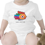 Rainbow Rooster with Red Comb Baby Bodysuit