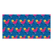 Rainbow roosters pattern card