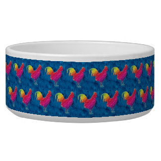 Rainbow roosters pattern pet water bowl