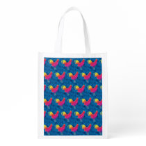 Rainbow roosters pattern reusable grocery bag