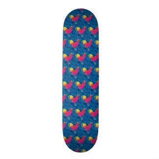 Rainbow roosters pattern skate deck