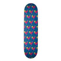 Rainbow roosters pattern skateboard