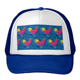 Rainbow roosters pattern trucker hat