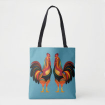 Rainbow Roosters Tote Bag