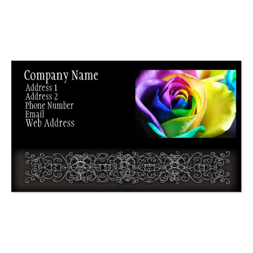 Rainbow Rose 11 Double-Sided Standard Business Cards (Pack Of 100)
