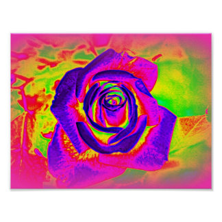 Rainbow Rose Abstract Poster