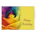 Rainbow Rose Birthday Card