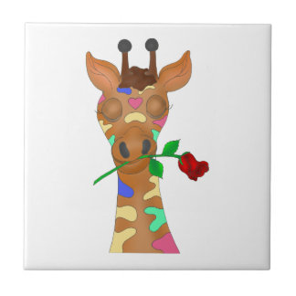 Rainbow Rose by The Happy Juul Company Ceramic Tile