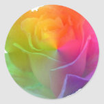 rainbow rose classic round sticker