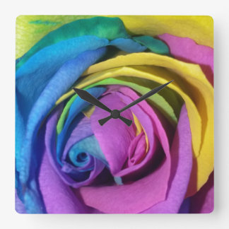 Rainbow Rose Square Wallclocks