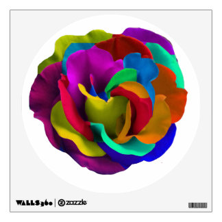 Rainbow rose colorful flower wall decal