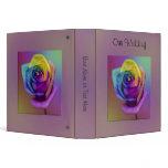 Rainbow Rose Flower Wedding 3 Ring Binder