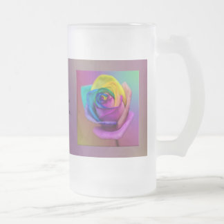 Rainbow Rose Flower Wedding Frosted Glass Beer Mug