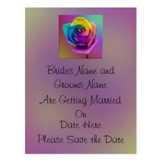 Rainbow Rose Flower Wedding Save the date Postcard
