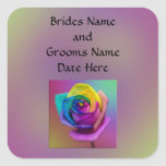 Rainbow Rose Flower Wedding Square Sticker